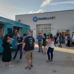 Employees having a company party with food trucks at Gadellnet IT Solutions in St. Louis